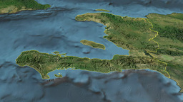 Haiti, glide over the map, outlined Animation