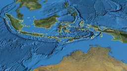 Indonesia, glide over the map, outlined Animation
