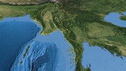 Myanmar, glide over the map, outlined Animation