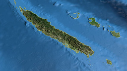 New Caledonia, glide over the map, outlined Animation