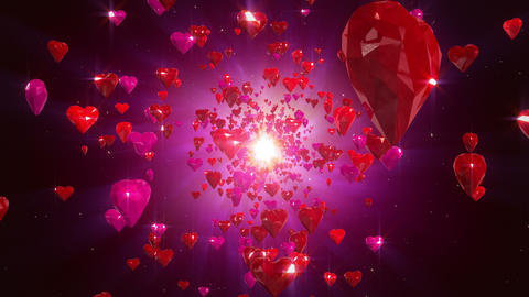 Flight hearts loopable background Animation