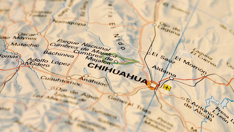 Chihuahua and Northern Mexico on Map DOLLY Stock Video Footage