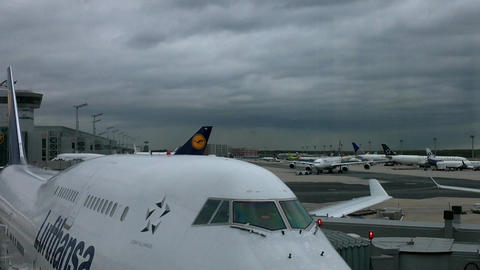 Frankfurt Airport Germany 03 jumbo jet Stock Video Footage