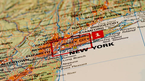 New York and its surroundings on Map DOLLY Stock Video Footage
