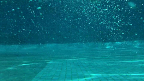 Outdoor Swimming Pool Jumping In Underwater Shot 04 Stock Video Footage