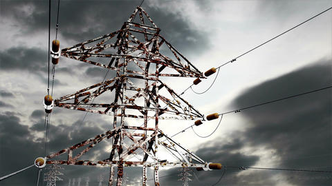 Rusty Electric Poles Timelapse 03 Stock Video Footage