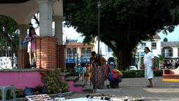 Small Mexican Town in Oaxaca 05 street vendors Stock Video Footage