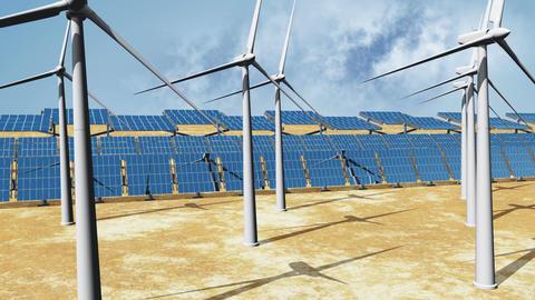 Solar Panels and Wind Turbines 06 Stock Video Footage