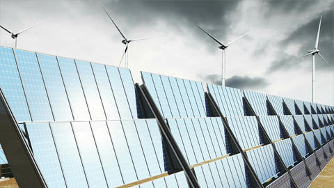 Solar Panels and Wind Turbines Clouds Timelapse 07 Animation