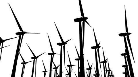 Wind Turbines Silhouette 04 loop Stock Video Footage