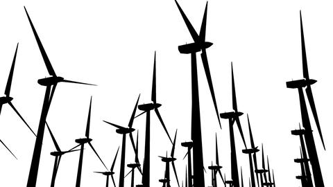 Wind Turbines Silhouette 04 loop Animation