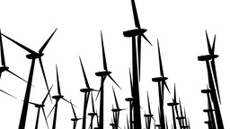 Wind Turbines Silhouette 04 loop Stock Video Footage