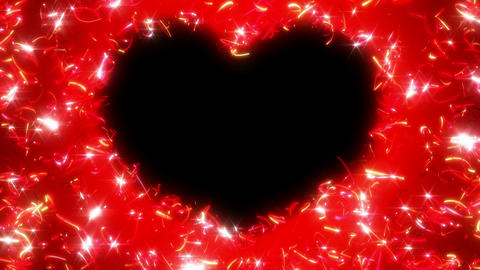 Red St. Valentine\'s Day heart shape and sparkles Animation