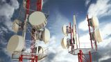 Antennas Clouds Timelapse 02 stock footage