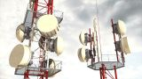 Antennas Clouds Timelapse 04 stock footage