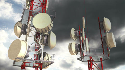 Antennas Clouds Timelapse 04 Stock Video Footage
