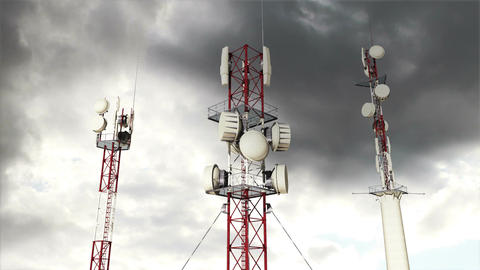 Antennas Clouds Timelapse 12 Stock Video Footage