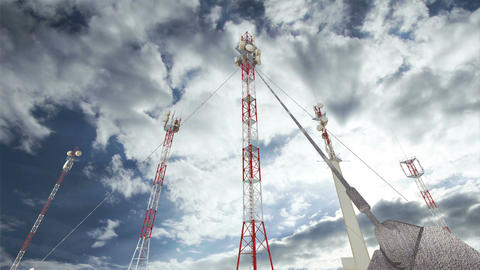 Antennas Clouds Timelapse 14 Stock Video Footage