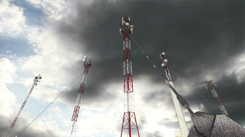 Antennas Clouds Timelapse 16 Stock Video Footage