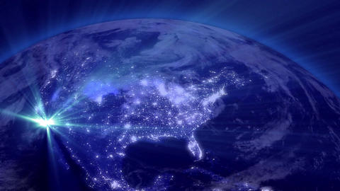 Earth from Space 01 Lightstreaks over USA Stock Video Footage