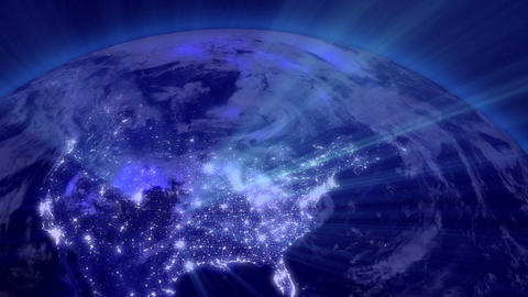 Earth from Space 01 Lightstreaks over USA Animation