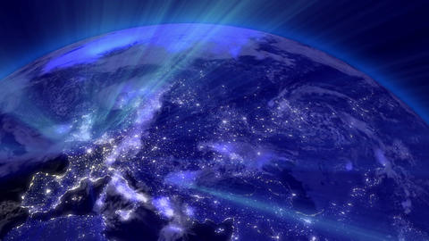 Earth from Space 03 Lightstreaks over Europe Animation