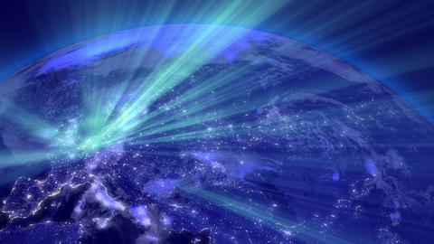 Earth from Space 03 Lightstreaks over Europe Stock Video Footage
