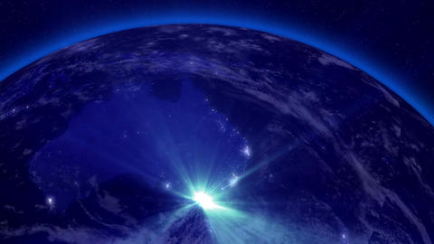 Earth from Space 05 Lightstreaks over Australia Stock Video Footage