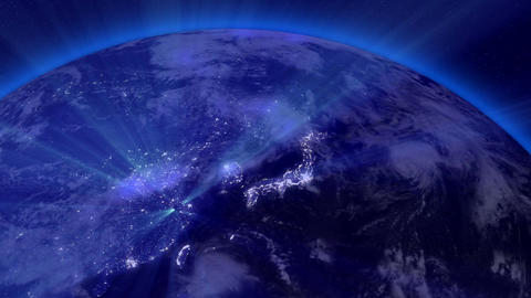 Earth from Space 07 Lightstreaks over Far East Animation