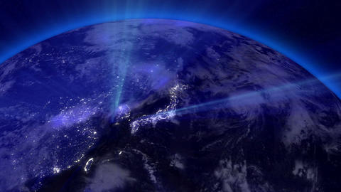 Earth from Space 07 Lightstreaks over Far East Stock Video Footage