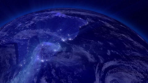 Earth from Space 09 Lightstreaks over South America Stock Video Footage