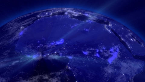 Earth from Space 11 Lightstreaks over Africa Stock Video Footage