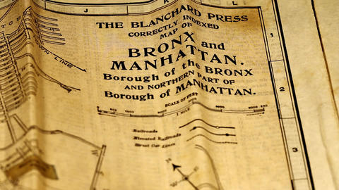 Exclusive New York Bronx and Manhattan Map from 1903 09 Stock Video Footage