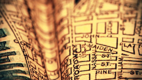 Exclusive New York Map from 1903 03 focusing on Broadway... Stock Video Footage