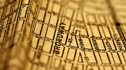 Exclusive New York Map from 1903 12 focusing on Broadway Stock Video Footage