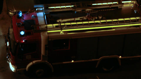 Fire Truck at night 01 Stock Video Footage