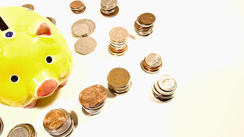 Pig Money Box and Coins and Putting Money In DOLLY Stock Video Footage