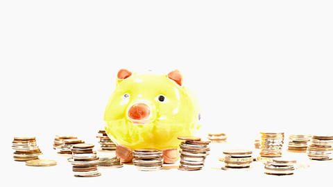 Putting Money into Pig Money Box and Coins 02 Stock Video Footage