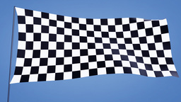 checkered flag A bluesky Stock Video Footage