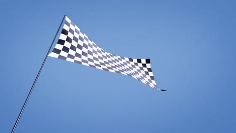 low angle checkered flag bluesky Stock Video Footage