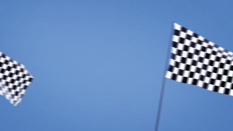 checkered flags cross left Stock Video Footage