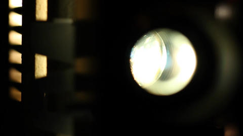 8mm Projector Lens in Action 02 sound rack focus Stock Video Footage
