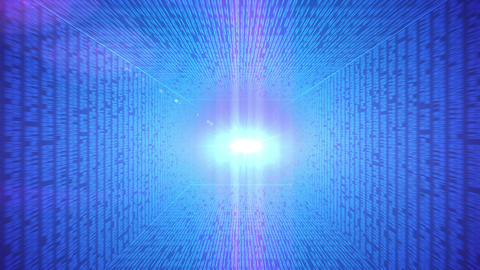 Abstract binary code 3D line blue background Animation
