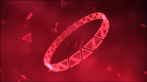 Rotating Ring of Triangles Animation - Loop Red Animation