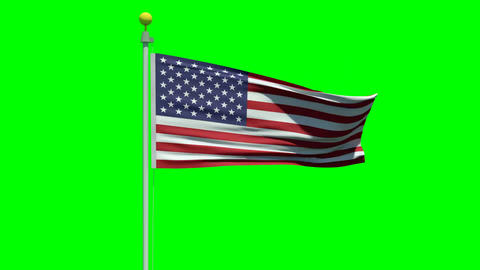 Waving American flag on a green screen Animation
