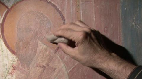 Mural Restoration stock footage