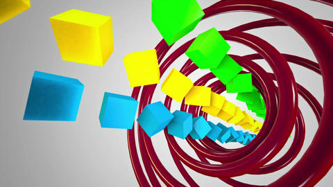 Colored Cubes at white background Animation