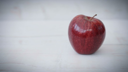 Red Apples Against A Rustic White Background HD Stock Footage stock footage