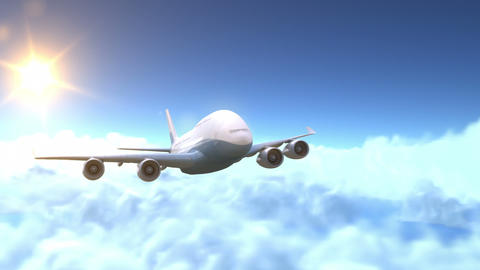 The Airplane Flies Above The Clouds stock footage