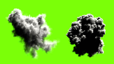 Explodes on green background, five options Animation